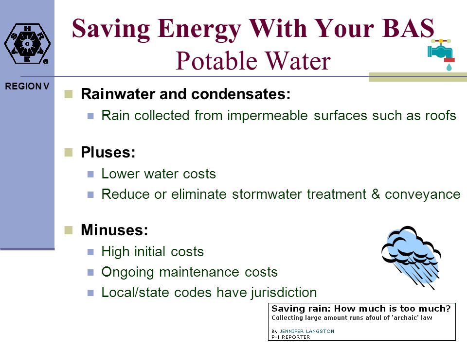 Saving Energy With Your BAS Potable Water