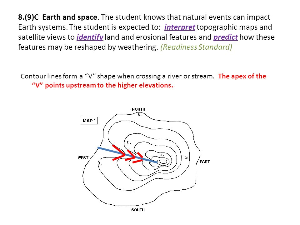 8.(9)C Earth and space. The student knows that natural events can impact Earth systems. The student is expected to: interpret topographic maps and satellite views to identify land and erosional features and predict how these features may be reshaped by weathering. (Readiness Standard)