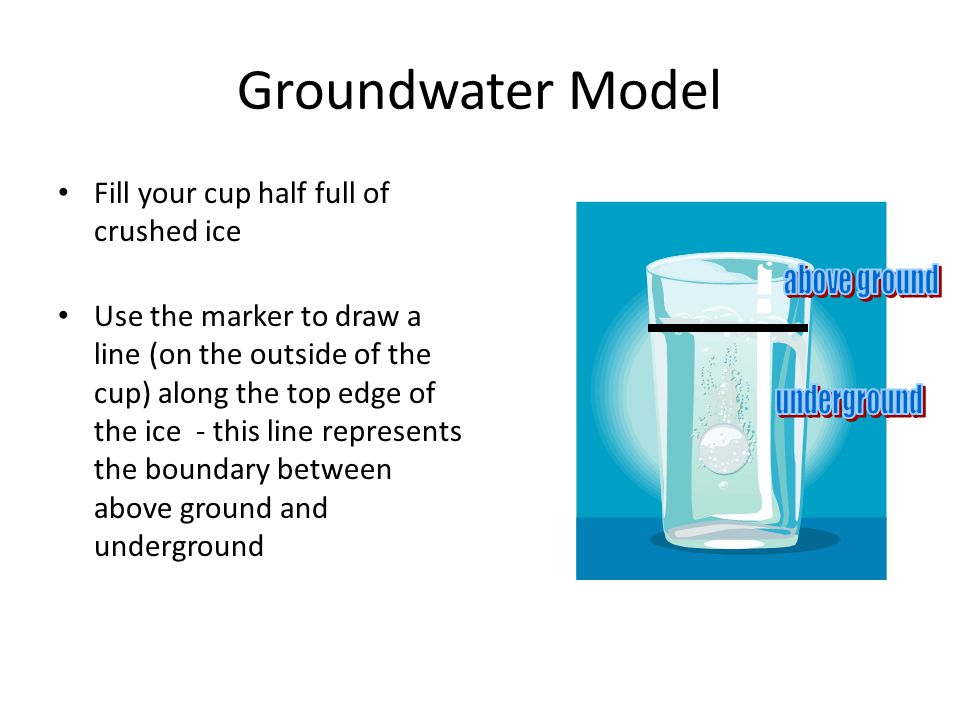 Groundwater Model Fill your cup half full of crushed ice