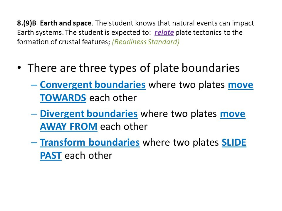 There are three types of plate boundaries