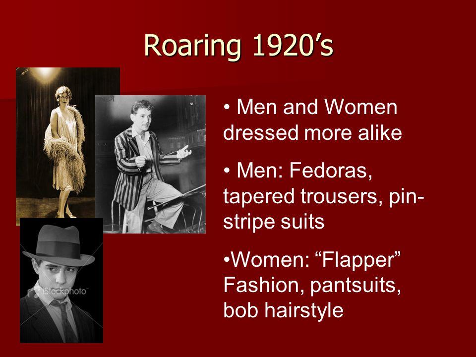 Roaring 1920's Men and Women dressed more alike