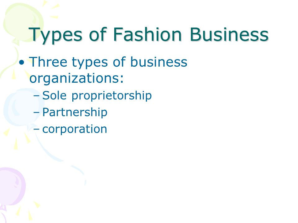 Types of Fashion Business