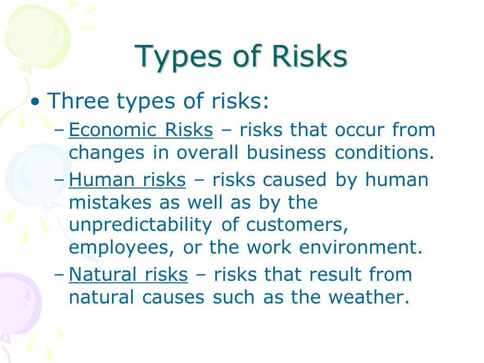 Types of Risks Three types of risks: