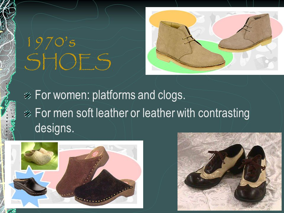 1970's SHOES For women: platforms and clogs.