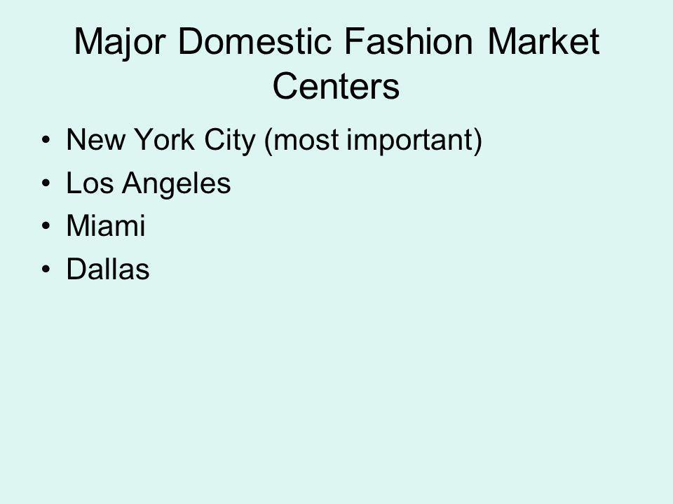 Major Domestic Fashion Market Centers