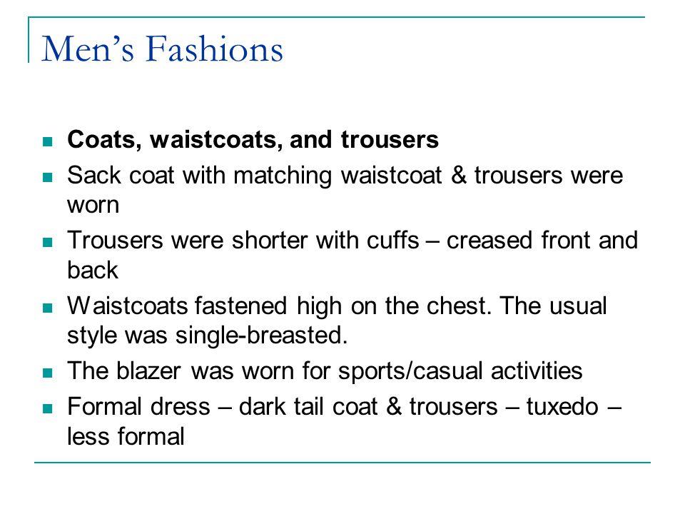 Men's Fashions Coats, waistcoats, and trousers