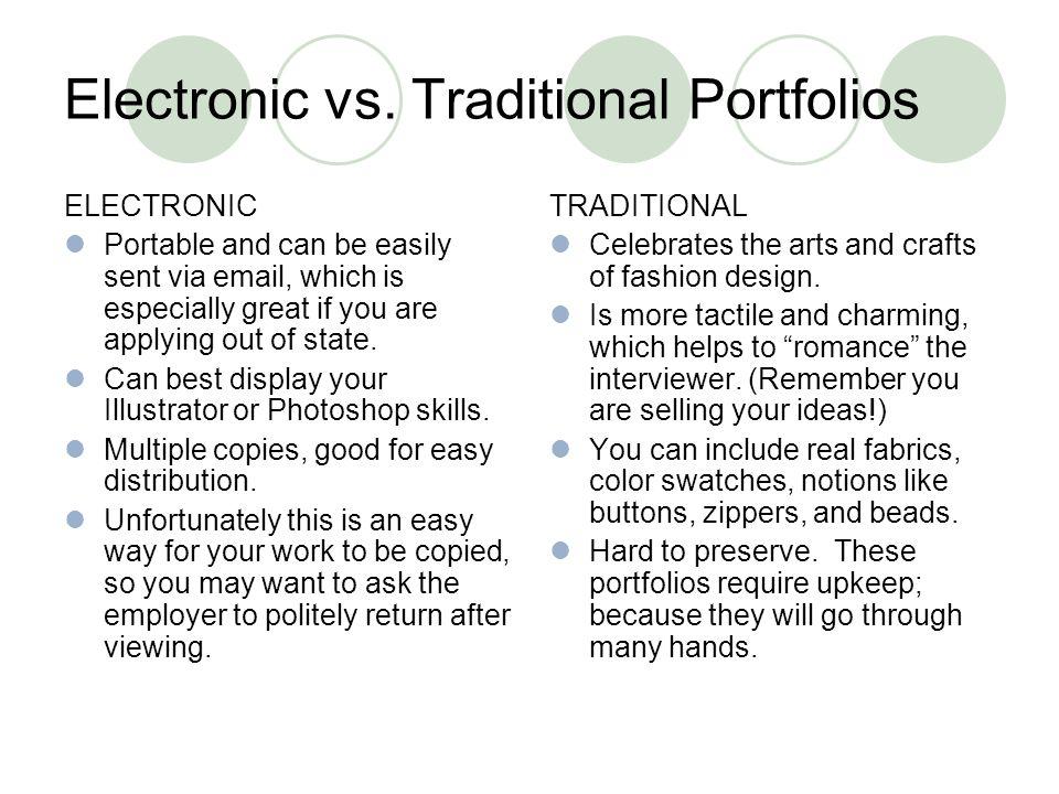 Electronic vs. Traditional Portfolios