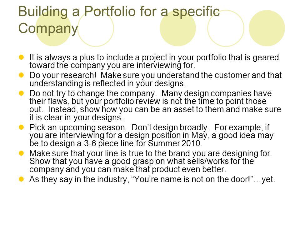Building a Portfolio for a specific Company