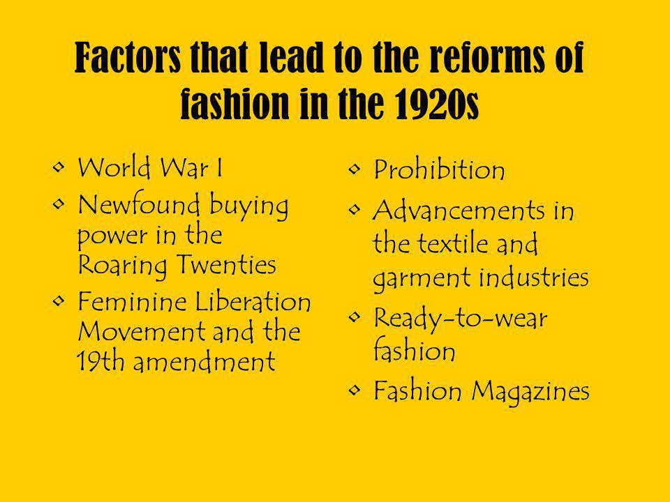 Factors that lead to the reforms of fashion in the 1920s