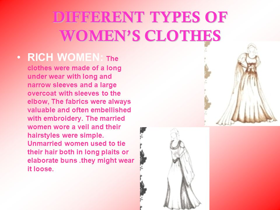 DIFFERENT TYPES OF WOMEN'S CLOTHES