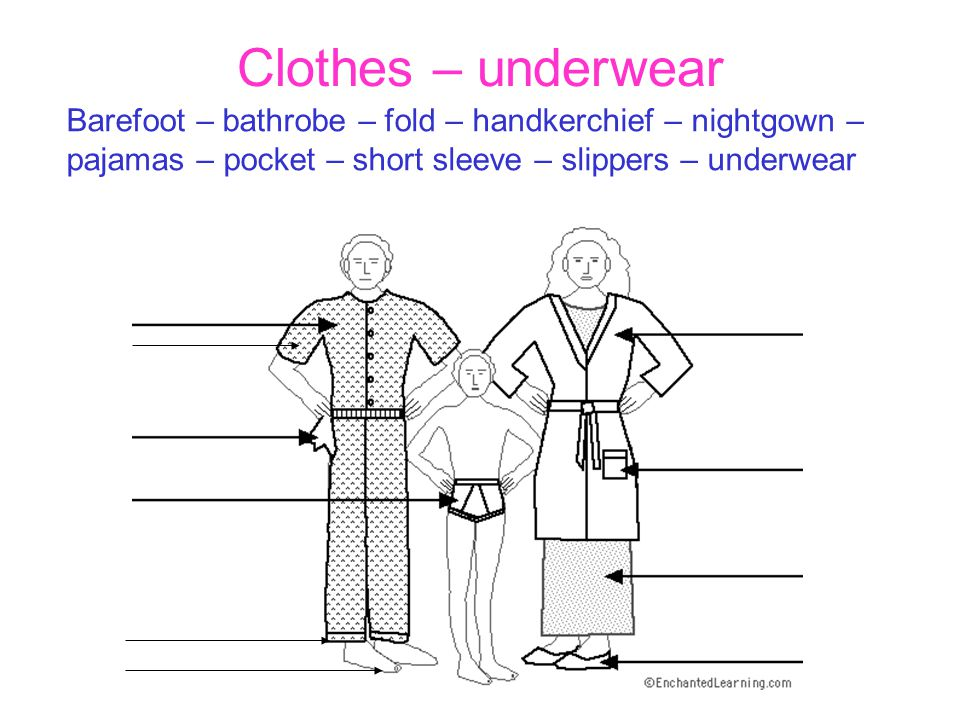 Clothes – underwear Barefoot – bathrobe – fold – handkerchief – nightgown – pajamas – pocket – short sleeve – slippers – underwear.