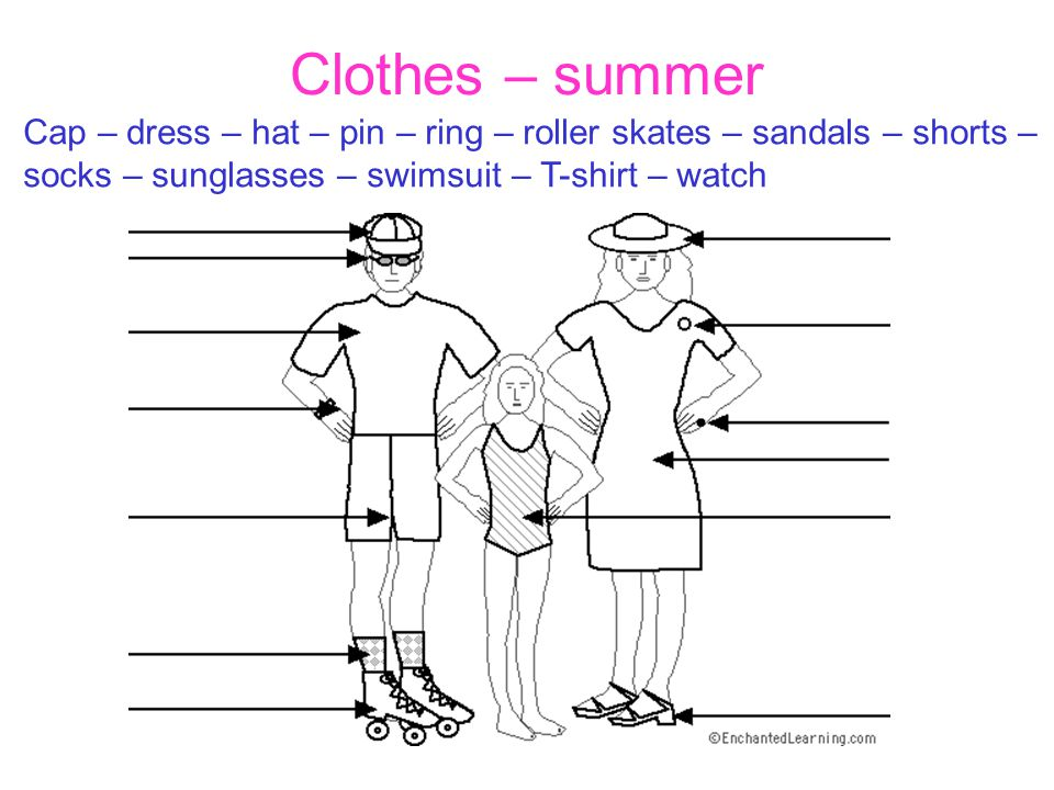 Clothes – summer Cap – dress – hat – pin – ring – roller skates – sandals – shorts – socks – sunglasses – swimsuit – T-shirt – watch.