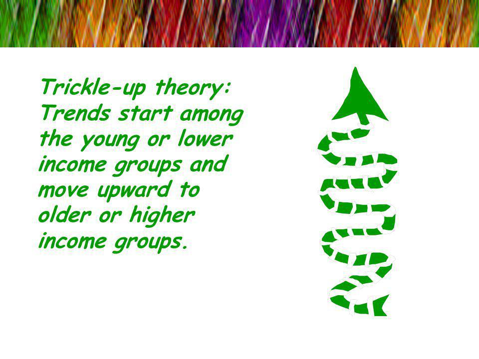 Trickle-up theory: Trends start among the young or lower income groups and move upward to older or higher income groups.