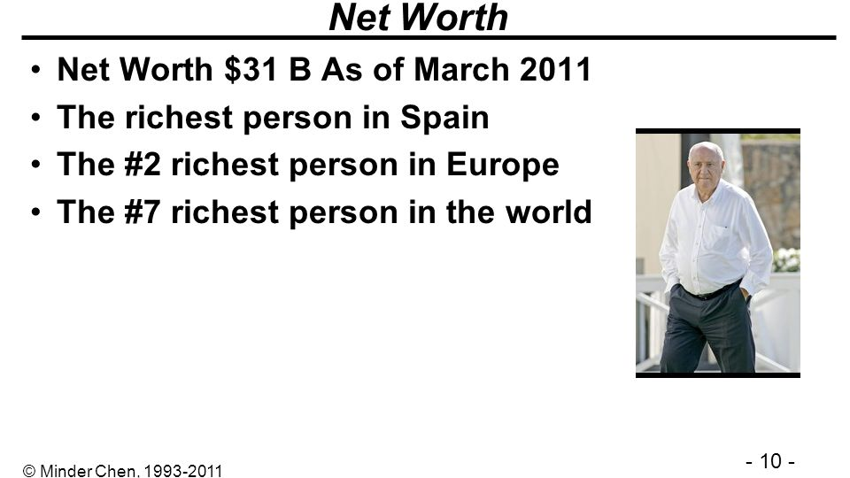 Net Worth Net Worth $31 B As of March 2011 The richest person in Spain