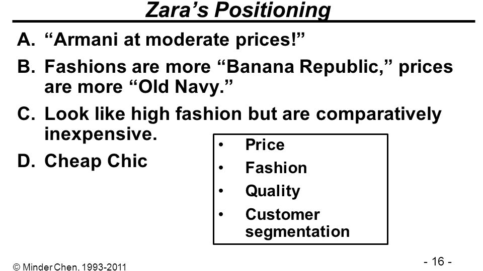 Zara's Positioning Armani at moderate prices!