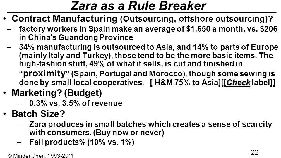 Zara as a Rule Breaker Contract Manufacturing (Outsourcing, offshore outsourcing)