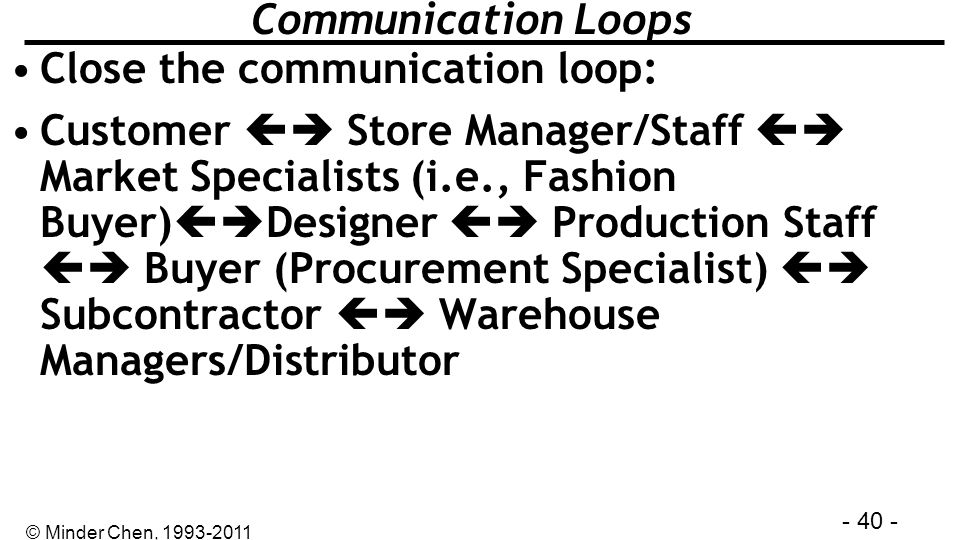 Communication Loops Close the communication loop: