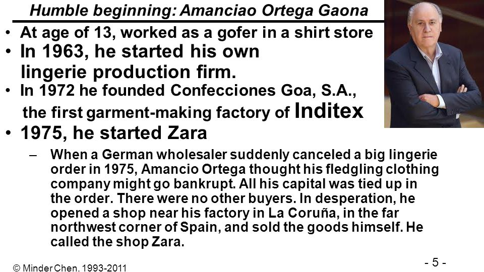 Humble beginning: Amanciao Ortega Gaona