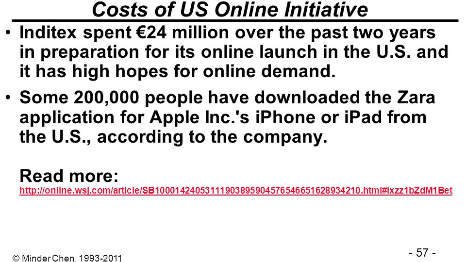 Costs of US Online Initiative