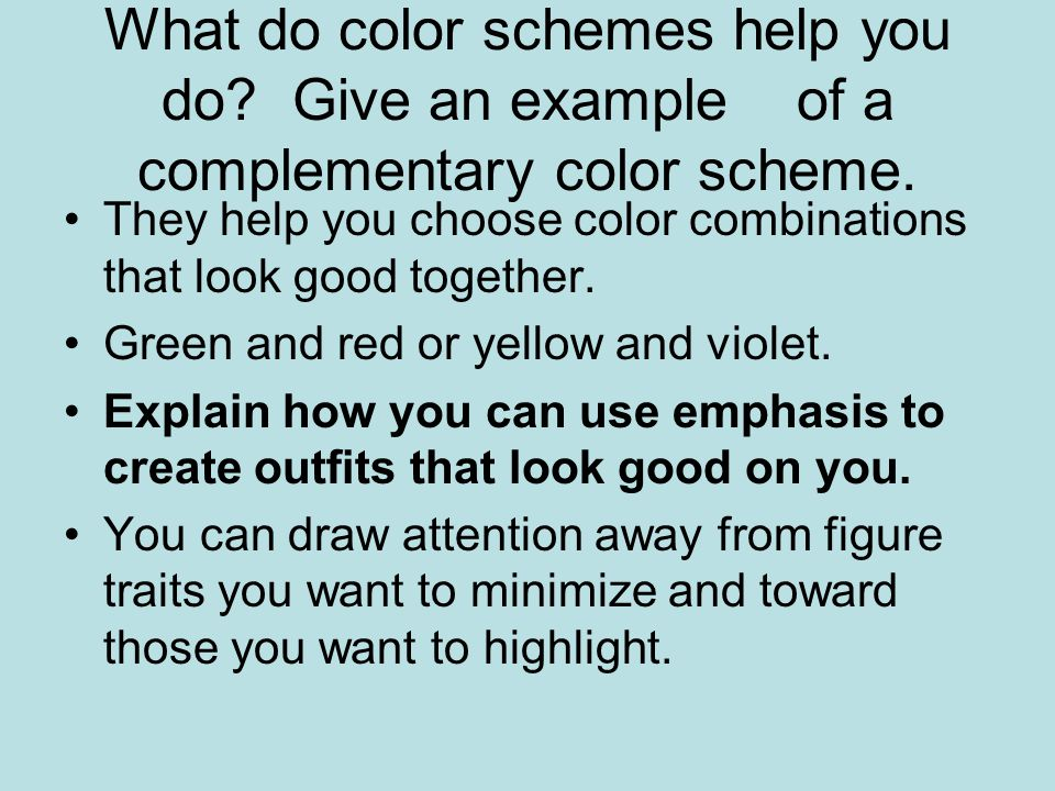 What do color schemes help you do