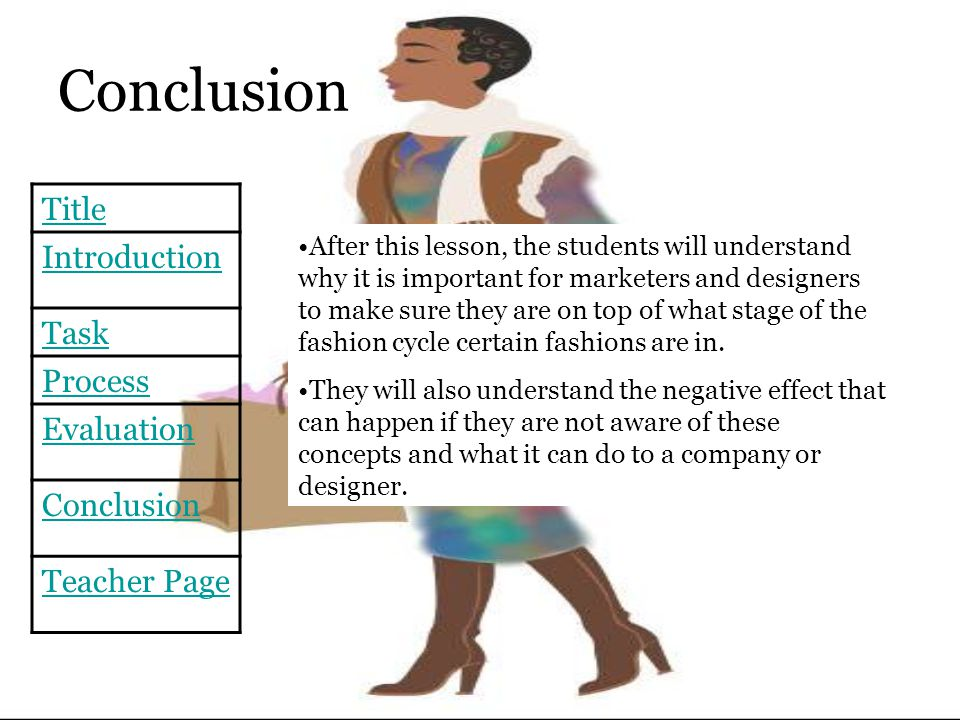 Conclusion Title Introduction Task Process Evaluation Conclusion