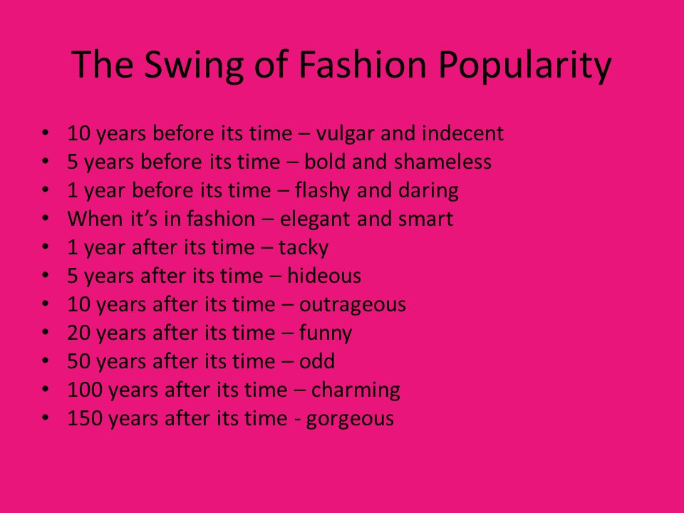 The Swing of Fashion Popularity