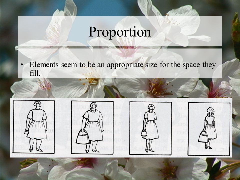 Proportion Elements seem to be an appropriate size for the space they fill.