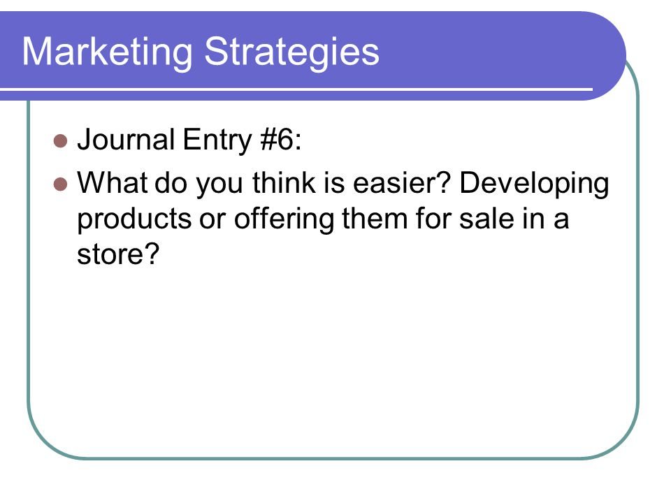 Marketing Strategies Journal Entry #6: