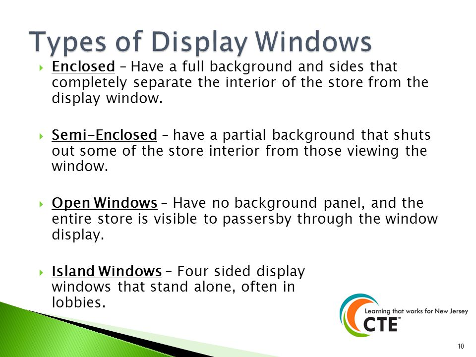 Types of Display Windows