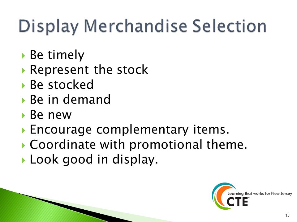 Display Merchandise Selection