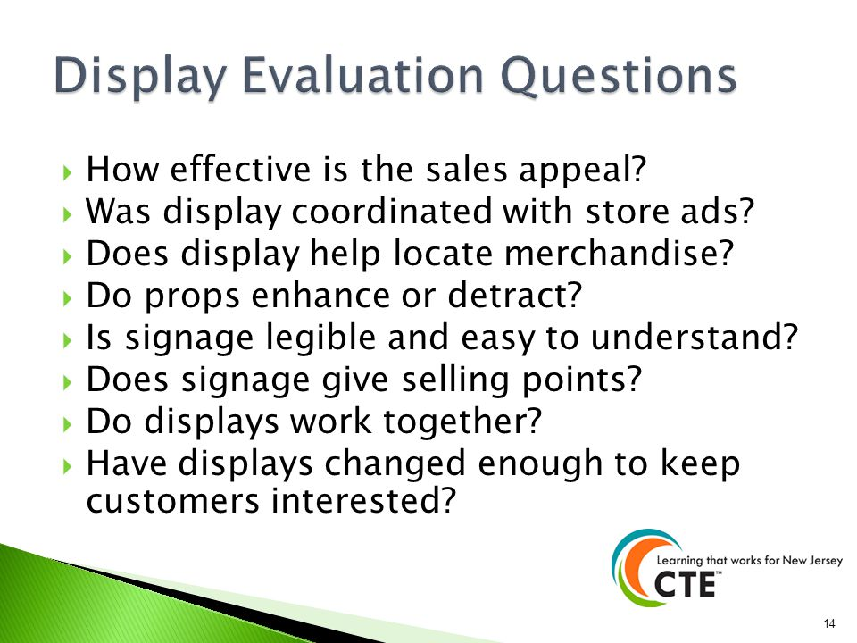 Display Evaluation Questions