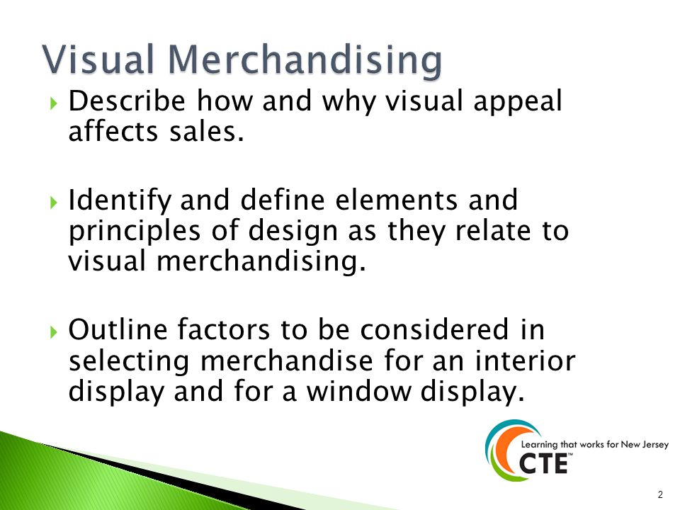 presentation on visual merchandising Visual merchandising starts on the outside of the store or its exterior presentation and carries on to the interior presentation it may involve the ability to create window displays in fashionable colors and patterns that make customers think the store has what they're looking for and the art of creating other types of displays or dressing .