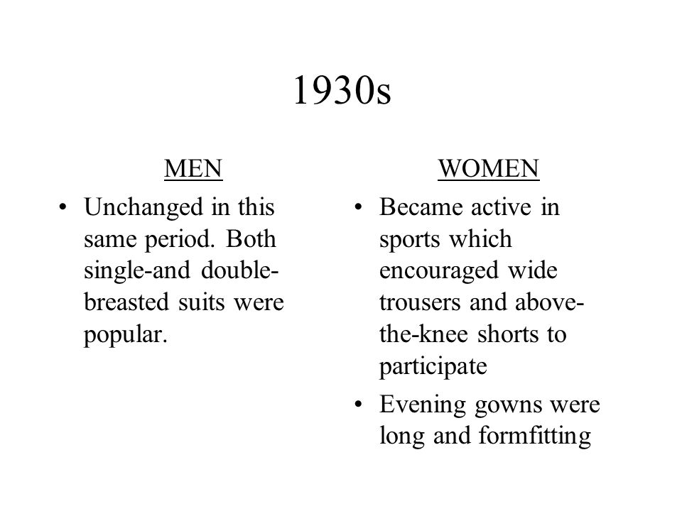 1930s MEN. Unchanged in this same period. Both single-and double-breasted suits were popular. WOMEN.
