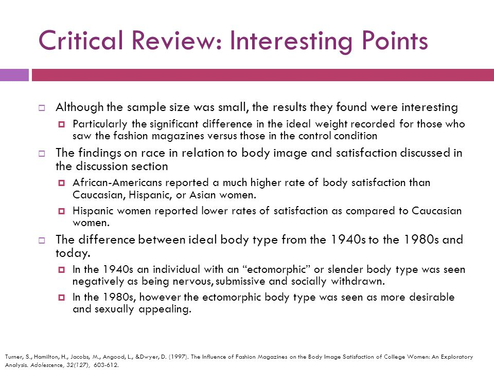 Critical Review: Interesting Points