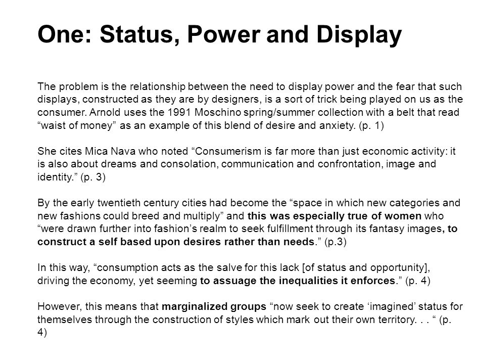 One: Status, Power and Display