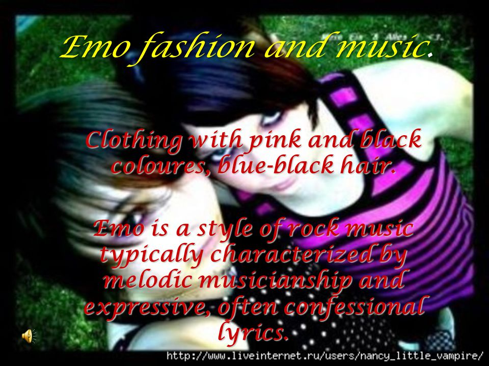 Clothing with pink and black coloures, blue-black hair.