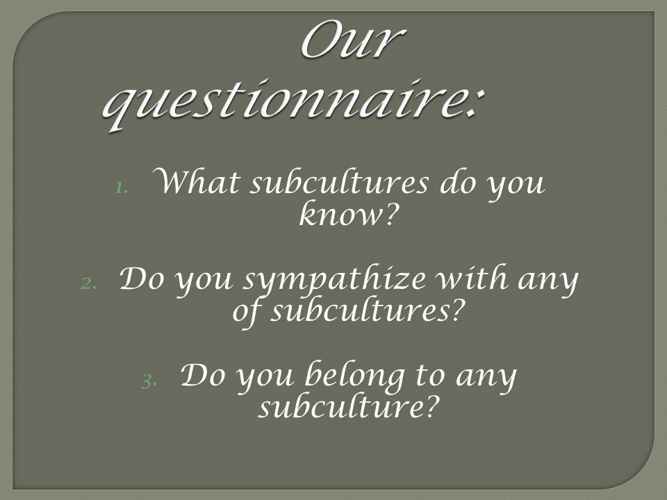 Our questionnaire: What subcultures do you know