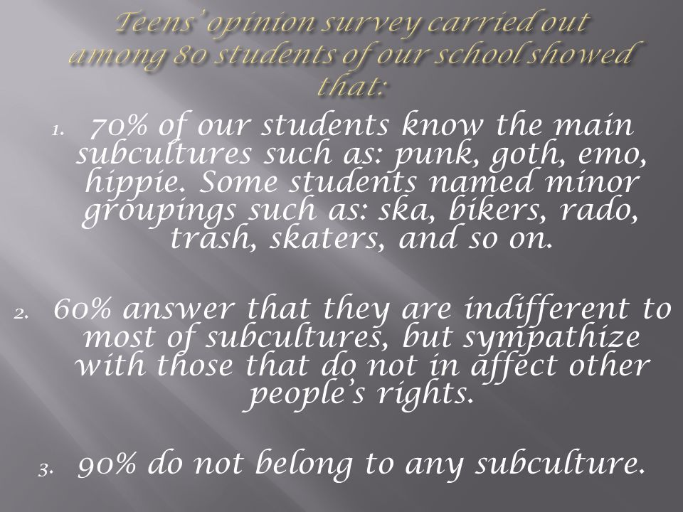 90% do not belong to any subculture.