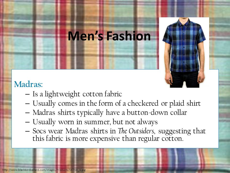 Men's Fashion Madras: Is a lightweight cotton fabric