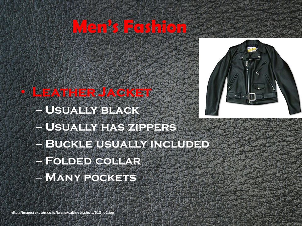Men's Fashion Leather Jacket Usually black Usually has zippers