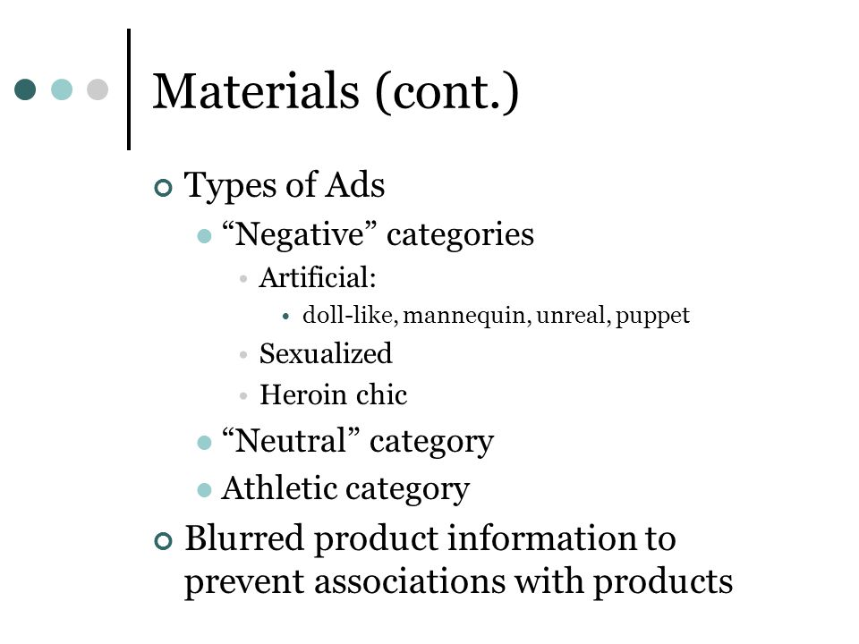 Materials (cont.) Types of Ads