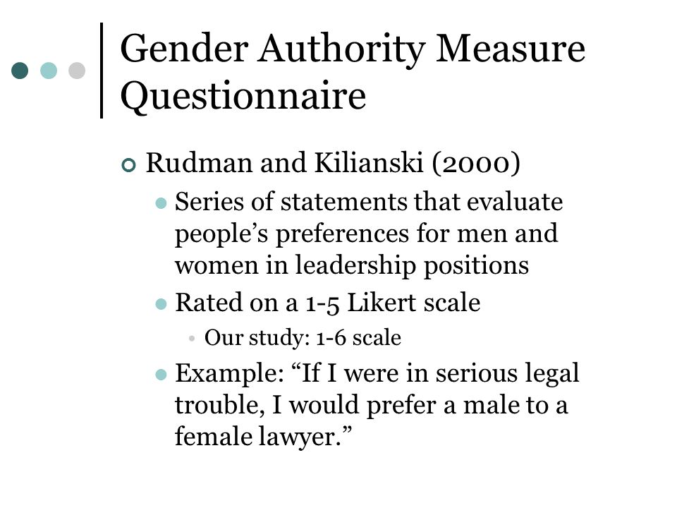 Gender Authority Measure Questionnaire