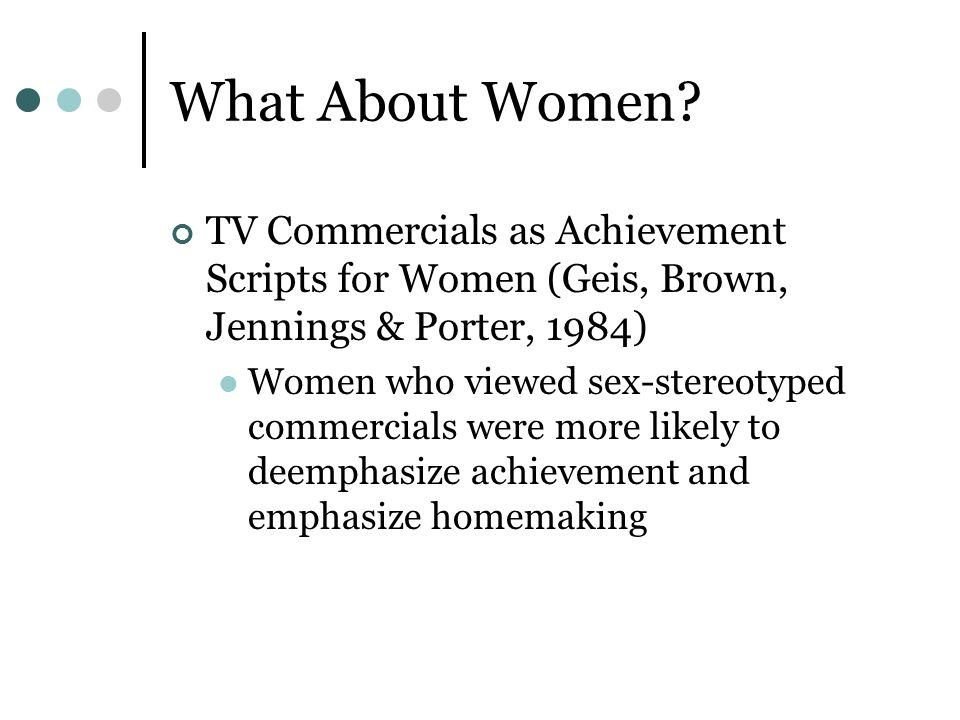 What About Women TV Commercials as Achievement Scripts for Women (Geis, Brown, Jennings & Porter, 1984)