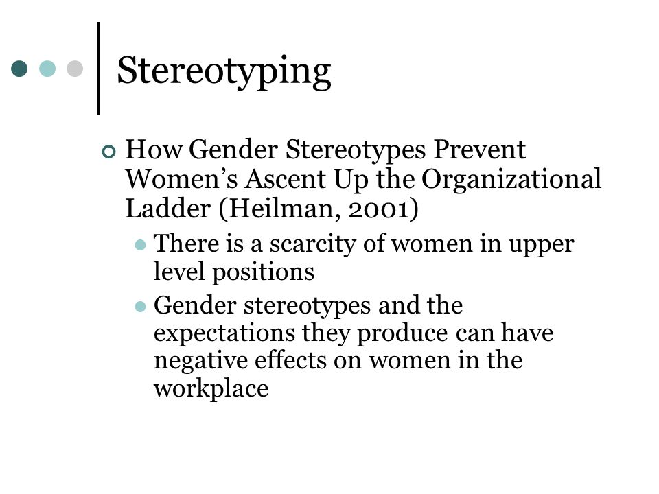 Stereotyping How Gender Stereotypes Prevent Women's Ascent Up the Organizational Ladder (Heilman, 2001)