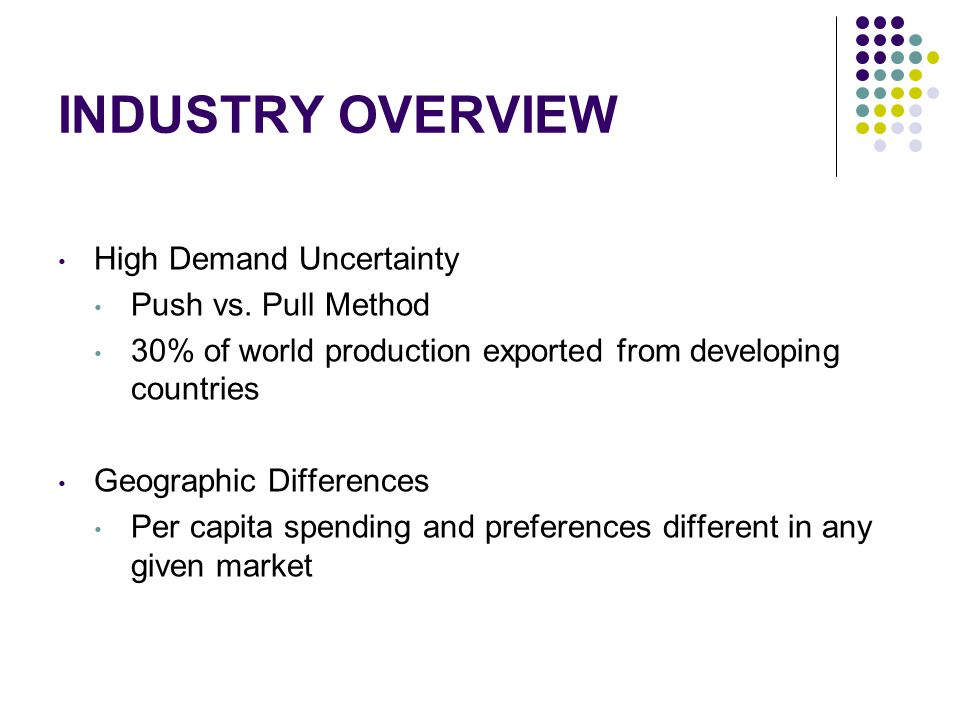 INDUSTRY OVERVIEW High Demand Uncertainty Push vs. Pull Method