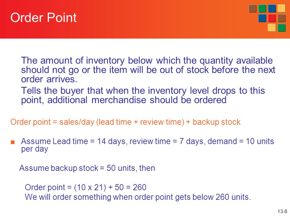 Order Point The amount of inventory below which the quantity available should not go or the item will be out of stock before the next order arrives.