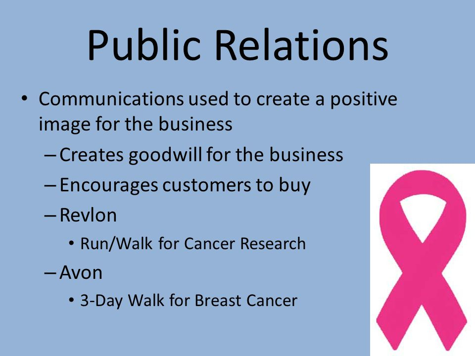 Public Relations Communications used to create a positive image for the business. Creates goodwill for the business.