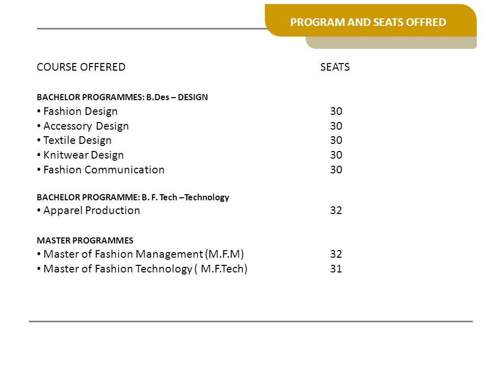 PROGRAM AND SEATS OFFRED