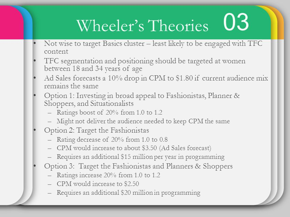 03 Wheeler's Theories. Not wise to target Basics cluster – least likely to be engaged with TFC content.