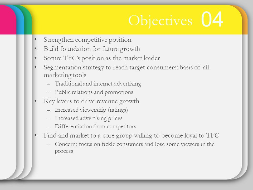 04 Objectives Strengthen competitive position